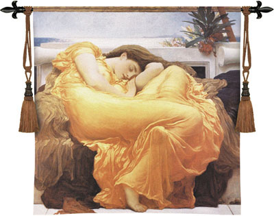 Flaming June Tapestry Wall Hanging - A Sleeping Woman Portrait, 53in X 53in