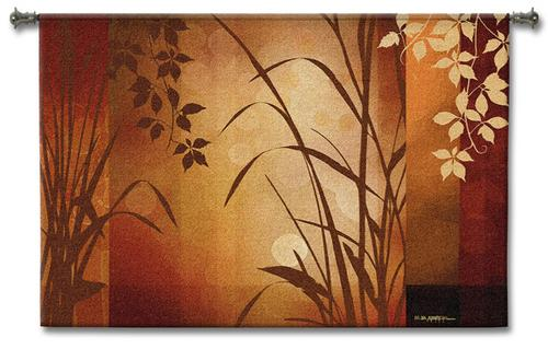Flaxen Silouette Contemporary Tapestry Wall Hanging - Abstract Botanical Design, 53in X 36in