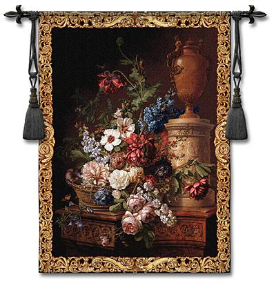 Fleur Du Siecle Still Life Wall Tapestry - Floral Bouquet, 38in X 53in