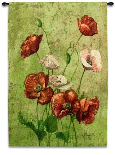 Fleurs Du Rouges Contemporary Tapestry Wall Hanging - Botanical Design In Bright Colors, 38in X 53in