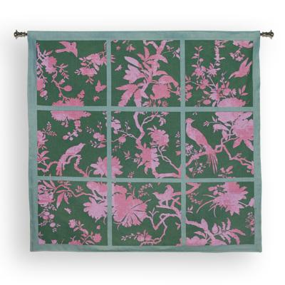 Floral Division Sage / Pink Bird Wall Tapestry - Contemporary Collage With Birds, 44in x 41in