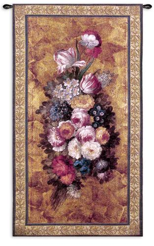 Floral Reflections I Still Life Wall Tapestry - Composituon With Flowers, 26in X 49in