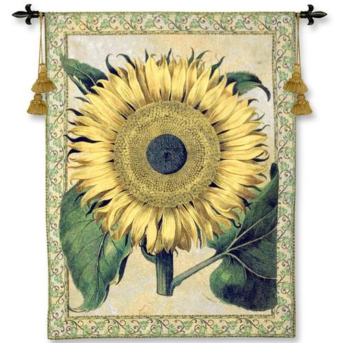 Flos Solis Major Contemporary Tapestry Wall Hanging - Floral Design With Sunflowers, 40in X 53in