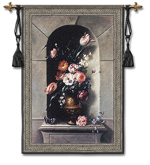 Flowers Of Antiquity II Tapestry Wall Hanging - Floral Picture, 39in X 53in