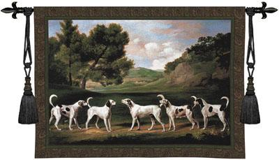 Foxhounds In A Landscape Animal Wall Tapestry - Dogs Picture, 75in X 53in