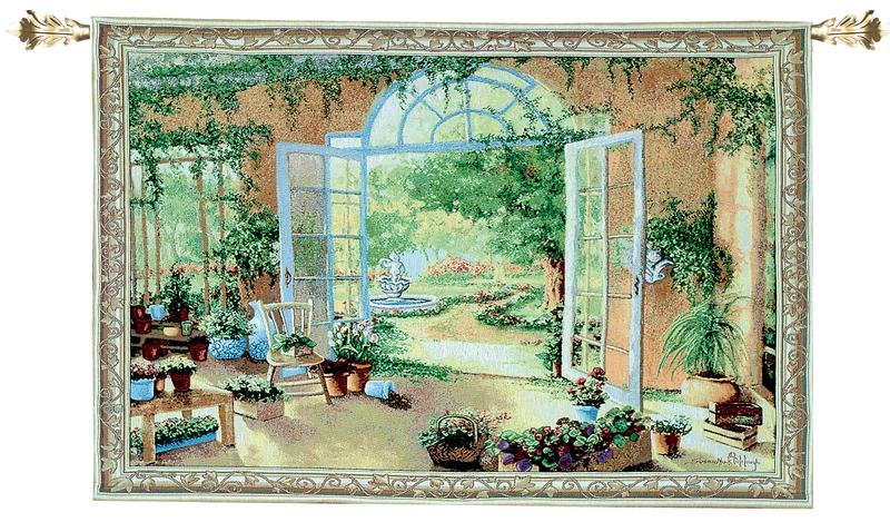 French Doors Garden View Tapestry Wall Hanging, 53in X 38in
