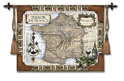 French Wine Country Map Wall Tapestry, 53in X 42in