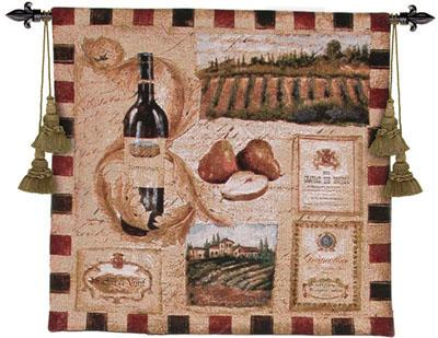 From The Wine Land I Wine Still Life Wall Tapestry - Vintage Collage, 27in X 27in