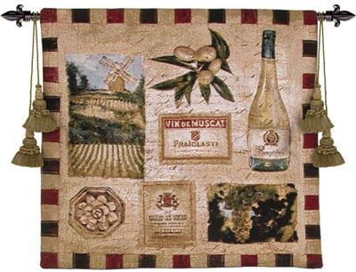 From The Wine Land II Wine Still Life Wall Tapestry - Vintage Collage, 27in X 27in