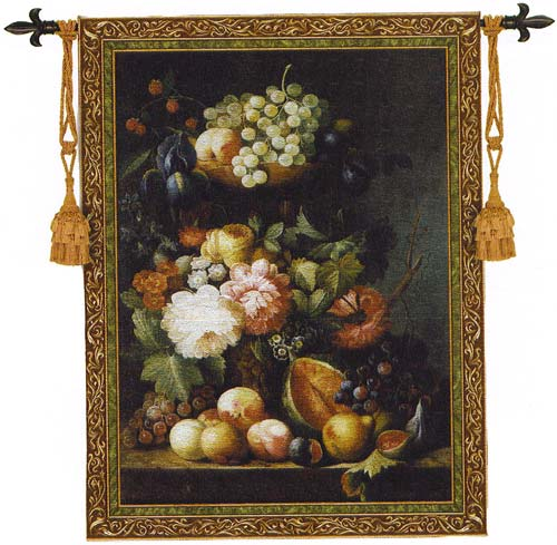Fruit Medley Still Life Tapestry Wall Hanging - Flowers & Fruits Picture, 43in X 53in