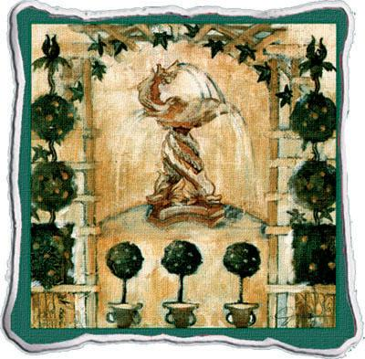 Garden Grace Abstract Tapestry Cushion - Classic Collage, 17in x 17in