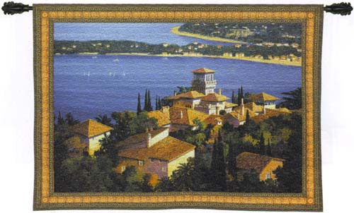Garden On The Cote D'Azur Seaside Tapestry Wall Hanging, 73in X 53in