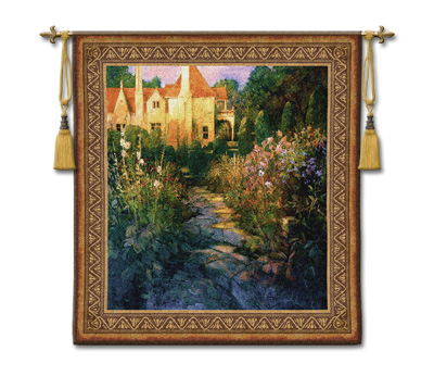 Garden Walk At Sunset Tapestry Wall Hanging, 52in X 55in