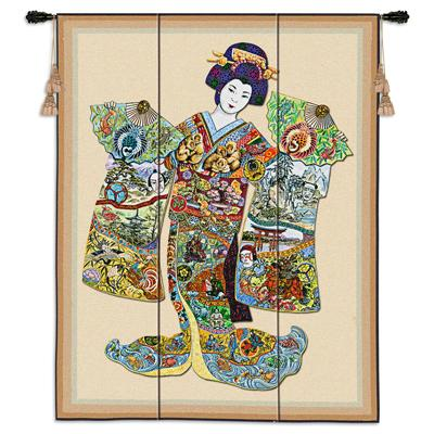 Geisha Asian Tapestry Wall Hanging - Ethnic Design, 41in X 53in