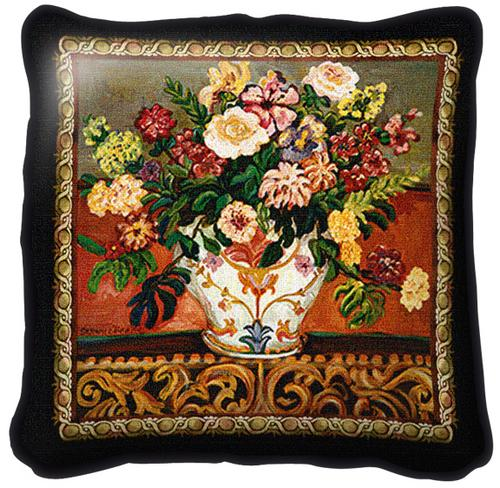 Gena's Vase Classic Tapestry Cushion - Floral Stillife, 17in x 17in