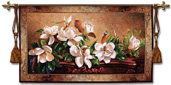 Gentle Giants Tapestry Wall Hanging - Floral Picture, 53in X 31in