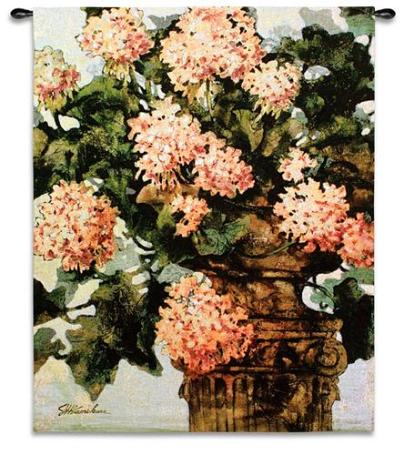 Geraniums Floral Tapestry Wall Hanging - Flowers In A Vase Picture, 42in X 53in