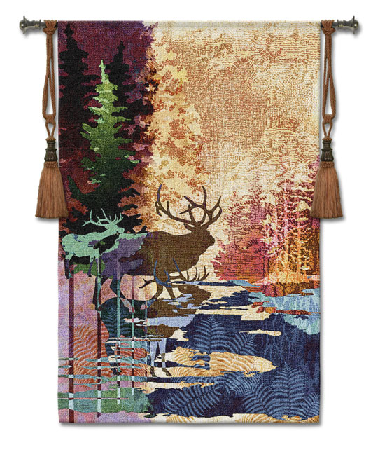 Ghosts Of The Tall Timber Animal Tapestry Wall Hanging - Elk Picture, 36in X 52in