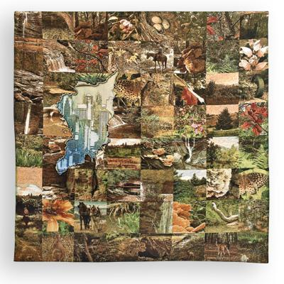 Glimpse Abstract Tapestry Wall Hanging - Wild Life Mosaic, 52in X 50in