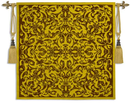 Golden Scroll Ornamental Tapestry Wall Hanging, 53in X 53in