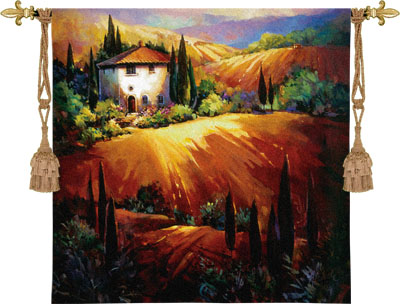 Golden Tuscany Tapestry Wall Hanging - Tuscan Village Picture, 53in X 53in