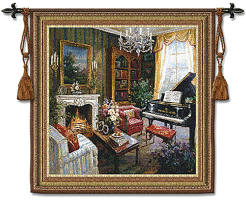 Grand Piano Room Tapestry Wall Hanging - Room Scene With Music & Flowers, 53in X 53in