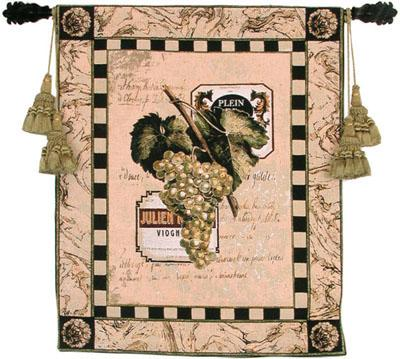 Grapes & Labels I Still Life Wall Tapestry - Grape & Wine, 27in X 33in