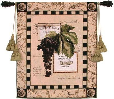 Grapes & Labels IV Still Life Wall Tapestry - Grape & Wine, 27in X 33in