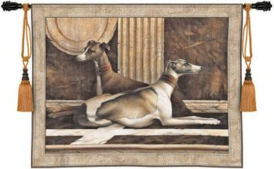 Greyhound Fresco Animal Wall Tapestry - Dogs Picture, 53in X 42in