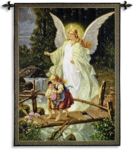 Guiding Angel Romantic Tapestry Wall Hanging, 40in X 53in