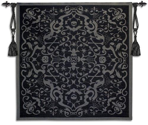 Halloween Scroll Black Ornamental Tapestry Wall Hanging, 53in X 53in