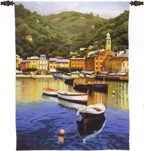 Harbor At Last Light Nautical Tapestry Wall Hanging - Boat Picture, 42in X 53in