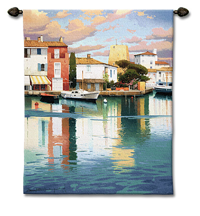 Harbor At Morning Light Landscape Tapestry Wall Hanging, 44in X 53in