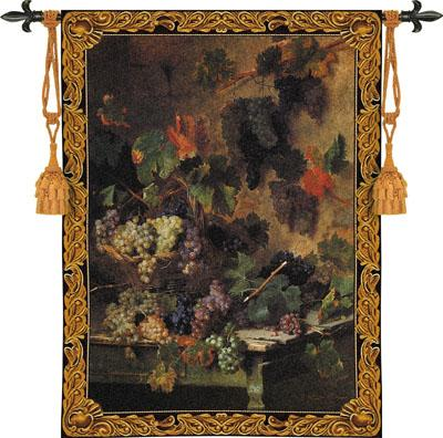 Harvest In Tuscany Grape Still Life Wall Tapestry, 39in X 53in