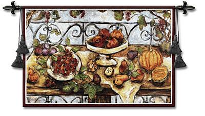 Harvest Table Still Life Tapestry Wall Hanging - Picture Of Fruits, 53in X 38in