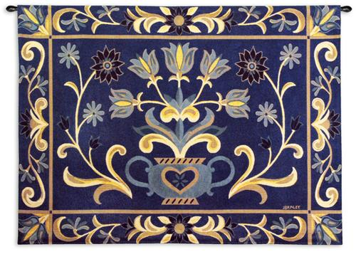 Heritage Floral Blue / Yellow Ornamental Tapestry Wall Hanging - Floral Motif, 53in X 40in