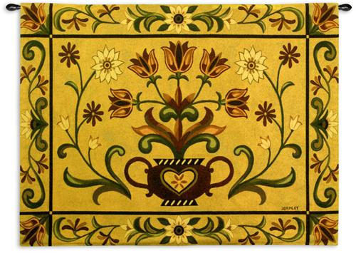 Heritage Floral Ornamental Tapestry Wall Hanging - Floral Motif, 53in X 40in