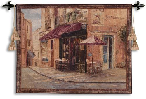 Hillside Cafe Cityscape Tapestry Wall Hanging - European City Scene, 53in X 41in