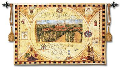 Hilltop Winery Wine Country Wall Tapestry - Landscape With Wine, 53in X 36in