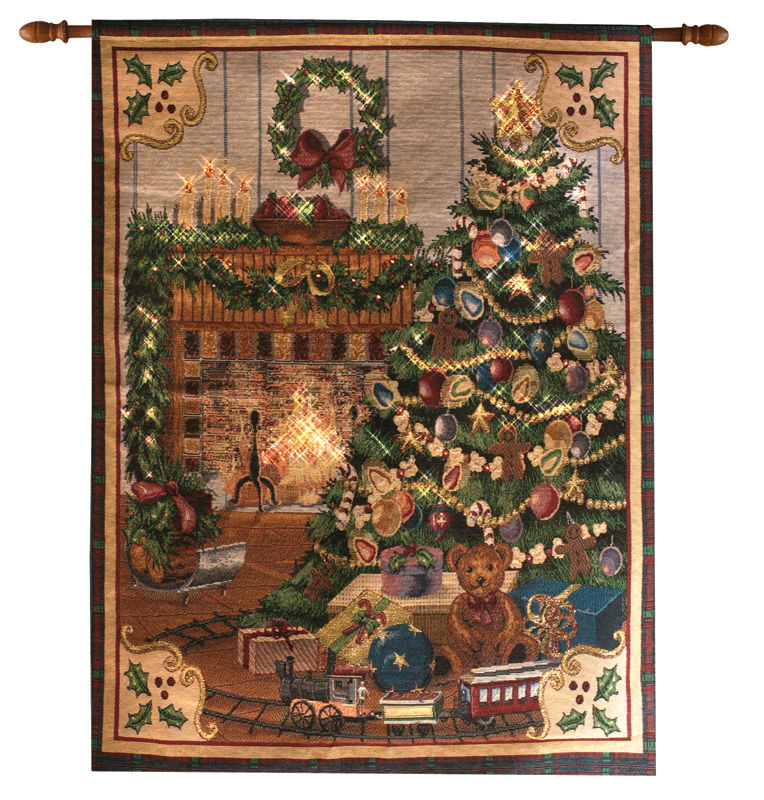 Home For Christmas Tapestry Wall Hanging Fiber Optic