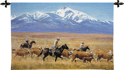 Homeward Bound Cowboy Tapestry Wall Hanging - Mountain Scene, 53in X 34in