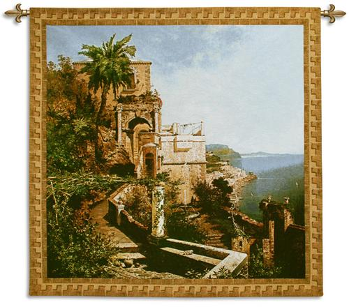 In The Garden Amalfi Coast Coastal Tapestry Wall Hanging - Seaside Scene, 53in X 53in
