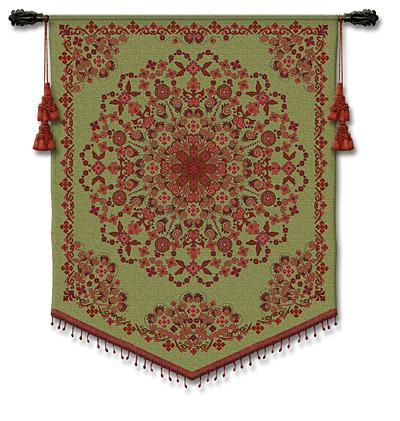 Indian Asian Tapestry Wall Hanging - Floral Ornament, 42in X 53in