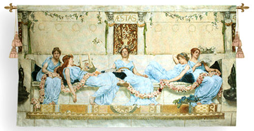 Interlude Tapestry Wall Hanging - Picture Of Beautiful Ladies, 41in X 73in