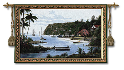 Island Paradise Tapestry Wall Hanging, 53in X 35in
