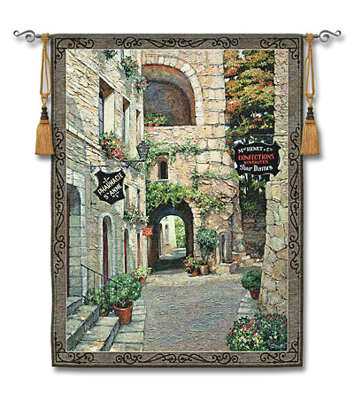 Italian Country Village II Tapestry - Tuscan Village Picture, 51in X 62in