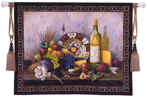 Italian Still Life Fruit & Wine Tapestry Wall Hanging - Flowers In Vase, 53in X 42in