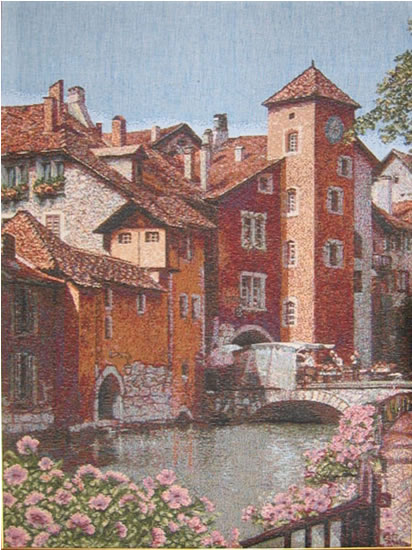 Italian Town Picture Tapestry Wall Hanging, 21in X 30in