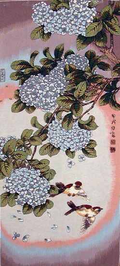 Floral Japaneese Art Picture Tapestry Wall Hanging, 19in X 45in
