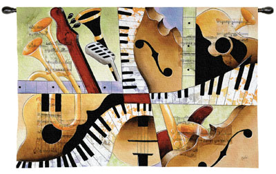 Jazz Medley I Tapestry Wall Hanging, 53in X 36in